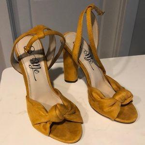 Yellow block heels